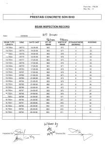 Beam inspection record FM-29